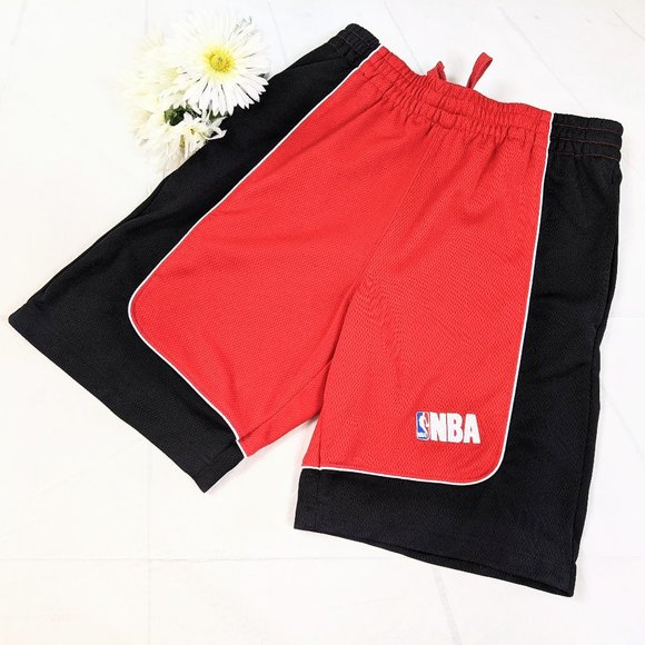 NBA Mesh Red & Black Lined Basketball Shorts SZ M